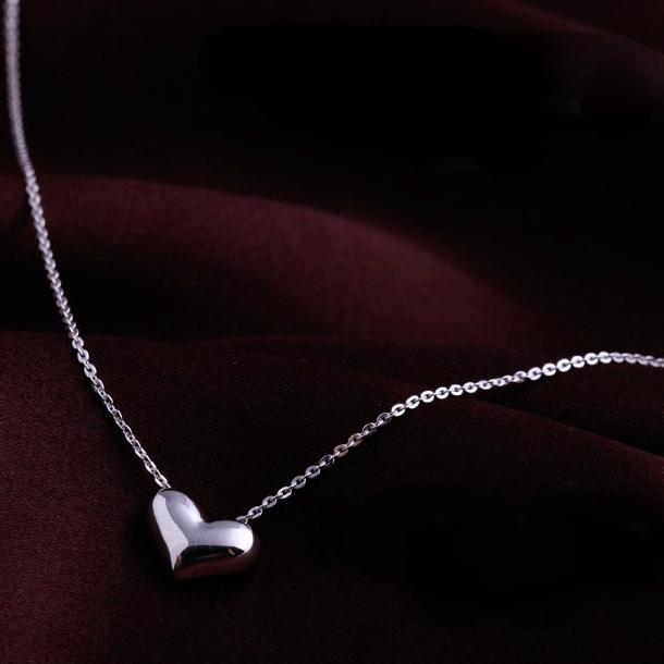สร้อยคอชุบทองคำขาว18Kจี้รูปหัวใจ
