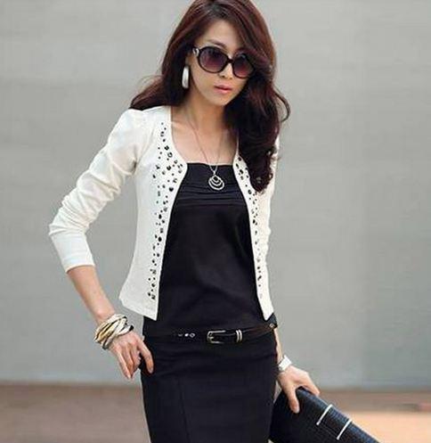 เสื้อคลุมผู้หญิง แขนสั้น เสื้อ Jacket ผู้หญิง สีขาว แต่งคริสตัล แนวเสื้อ ใส่คลุม กับ ชุดเดรส ชุดทำงาน เสื้อ Jacket ตัวสั้น ใส่เก๋ ๆ 92414_1