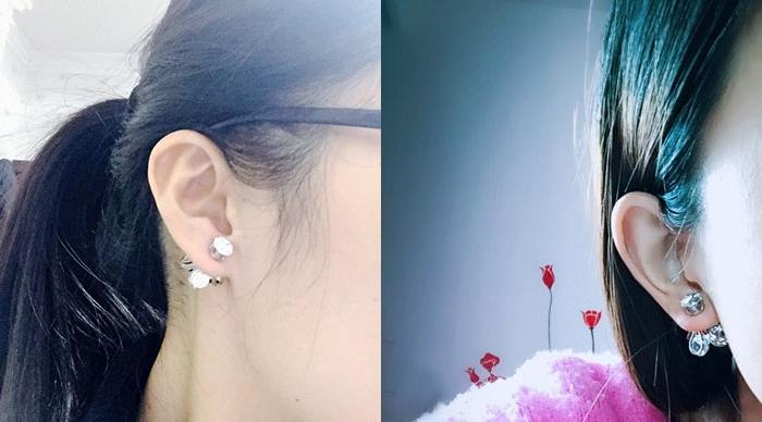 ต่างหู,ตุ้มหูแฟชั่นสไตล์เกาหลีคริสตัลรูปดอกไม้สีเงิน