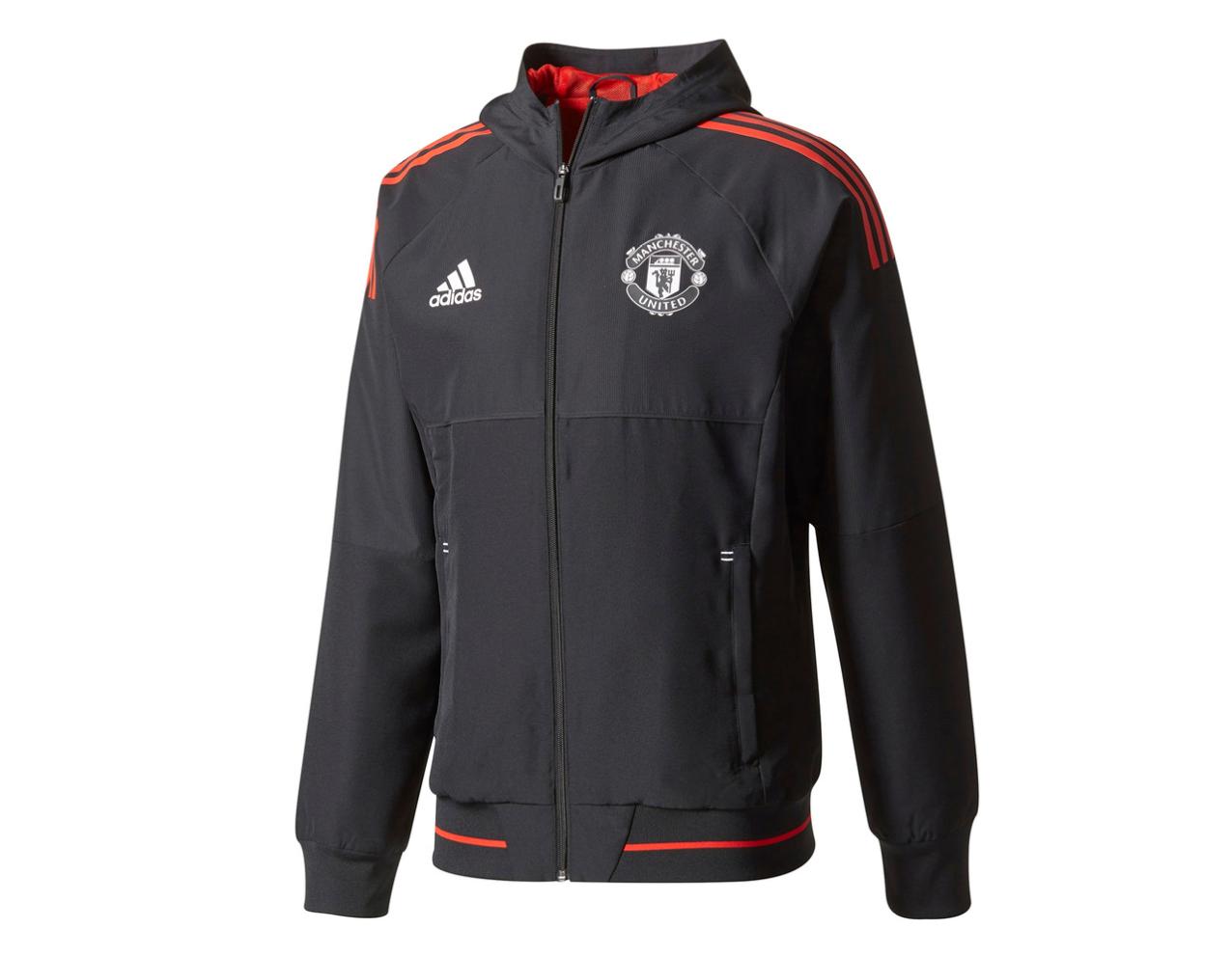เสื้อแจ็คเก็ตอดิดาสแมนเชสเตอร์ ยูไนเต็ดเทรนนิ่ง UCL สีดำของแท้ UCL Training Presentation Jacket