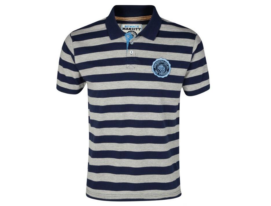 เสื้อโปโล แมนซิตี้ ของแท้ 100% Manchester City Houston Stripe Polo Top - Navy/Grey จากสโมสรแมนซิตี้ UK สำหรับสวมใส่ เป็นของฝาก ที่ระลึก ของขวัญ แด่คนสำคัญ