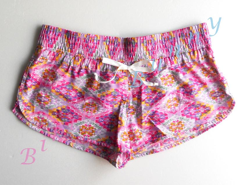sh502 กางเกงผ้า cotton ลายเก๋ๆ โทนสีชมพูม่วง พร้อมส่ง Size M --> The sea