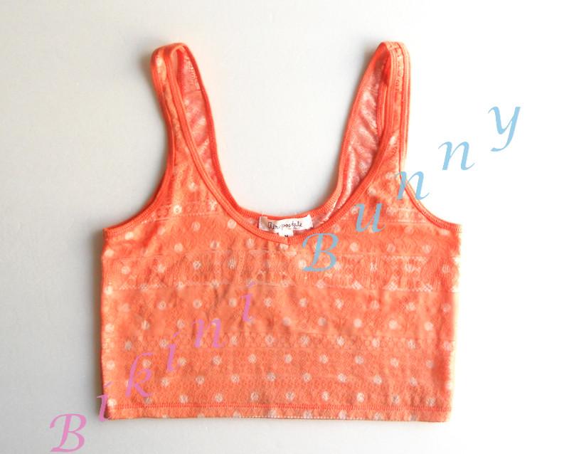 bw45 พร้อมส่ง Size S, M เสื้อกล้ามตัวสั้นลายจุด (ส้ม,กรมท่า) ด้านหน้ามีซับใน ด้านหลังเป็นซีทรู