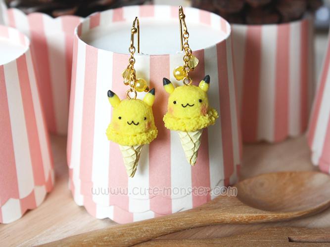 ต่างหูดินปั้น Pokemon Ice-cream