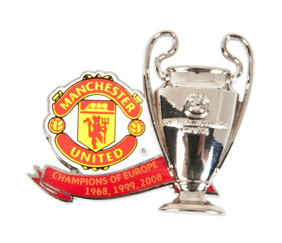 ชุดเข็มกลัดที่ระลึกแมนเชสเตอร์ ยูไนเต็ดของแท้ Manchester United Past Winners Champions Of Europe Trophy Badge