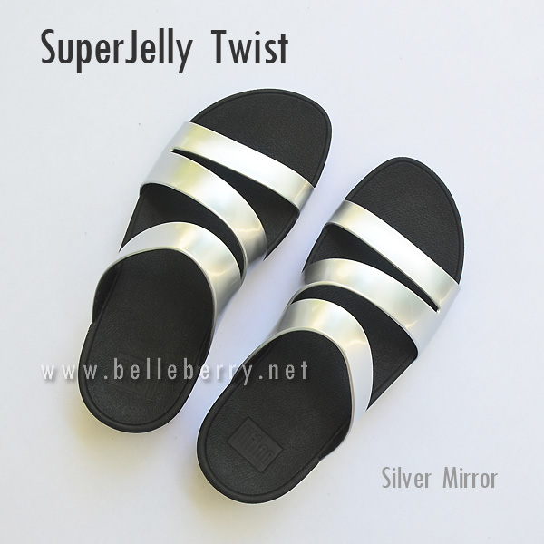 **พร้อมส่ง** FitFlop SUPERJELLY TWIST : Silver Mirror : Size US 5 / EU 36