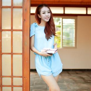 """""""พร้อมส่ง""""เสื้อผ้าแฟชั่นสไตล์เกาหลีราคาถูก Brand Cocorigo จั๊มพ์สูทชีฟองขาสั้น แขนกุด ผูกโบว์ที่ไหล่ข้างนึง จั๊มเอว ซิปหลัง มีซับใน น่ารัก -สีฟ้า"""