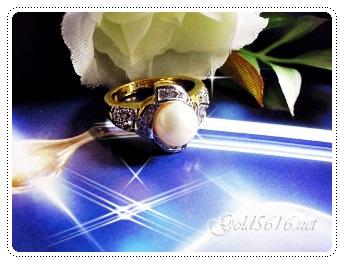 แหวนเพชรมุกน้ำจืด gold plated 5microns/white gold plated