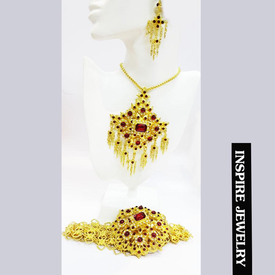 Inspire Jewelry ชุดเซ็ทสร้อยคอและต่างหูและเข็มขัด พลอยสีแดง ลายตามที่โชว์ ลายโบราณ อนุรักษ์ไทย สวยงามมาก ปราณีต ใส่กับเสื้อผ้าไทย ชุดไทย ผ้าสไบ หรือใส่ประดับ ผ้าซิ่น ผ้าถุง ผ้าไหม ตามรอยละครบุพเพสันนิวาส หนึ่งด้าว แม่การะเกตุ แม่แมงเม่า