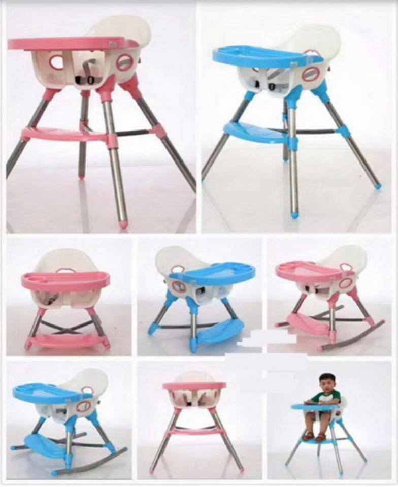 เก้าอี้กินข้าว 3 in 1 ปรับเป็นเก้าอี้โยกเยกได้ ระบุสีฟ้า หรือชมพู นะค่ะ