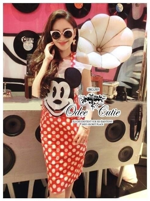 &#x2605Mickey polka dot apron set&#x2605