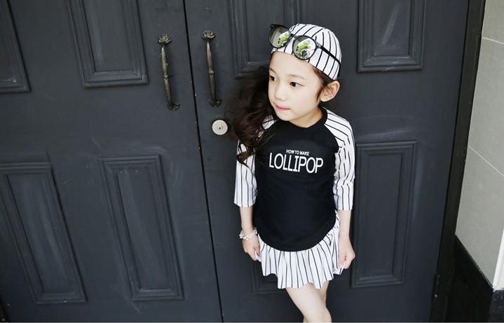 ชุดว่ายน้ำเด็ก Lollipop สีดำ-ขาว