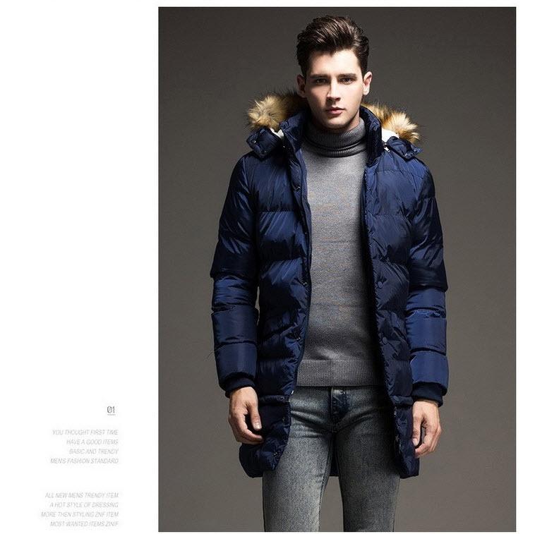 เสื้อโค้ทผู้ชาย สีน้ำเงิน มีฮู้ด(ถอดได้)แต่งขนเฟอร์ คอปก แขนยาว โค้ทยาว ถอดชายเสื้อได้ มีซับใน ใส่กันหนาว ใส่เที่ยว ใส่ไปต่างประเทศ แบบเท่ห์ เสื้อโค้ทแฟชั่น