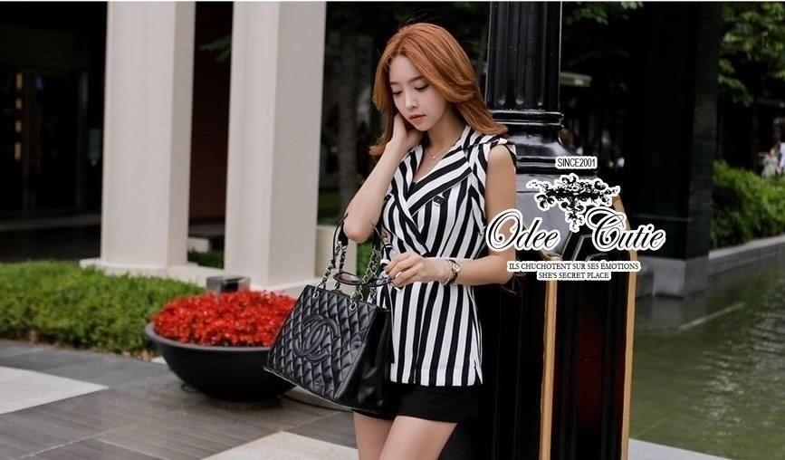 Black and white striped blazer-style set
