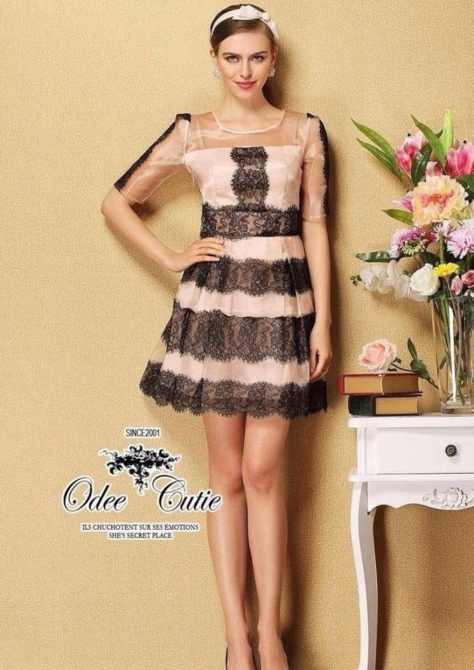 Organza lace twisted mini dress
