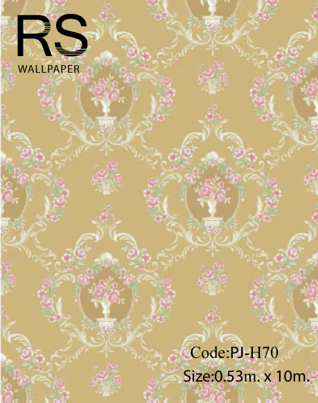 วอลเปเปอร์ ลายดอกไม้วินเทจ พื้นสีทองน้ำตาล No.PJ-H70