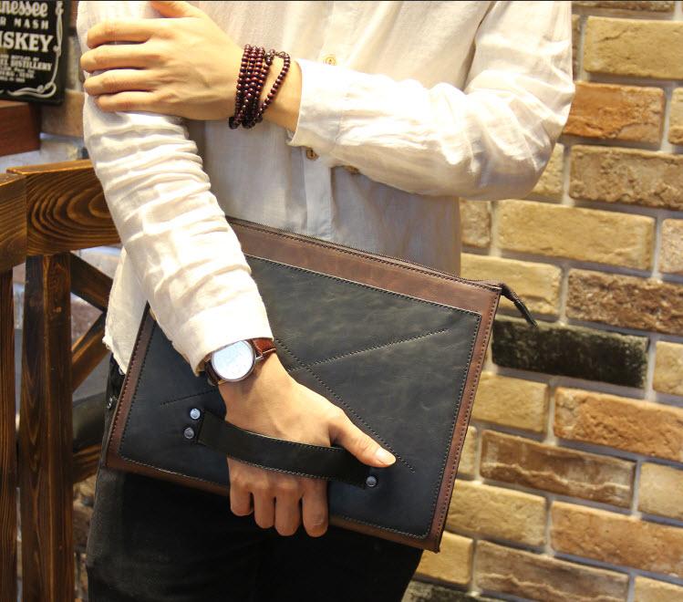 พร้อมส่ง กระเป๋าถือ กระเป๋าเอกสาร ผู้ชาย สีน้ำตาล ใส่โทรศัพท์ ใส่ ipad mini