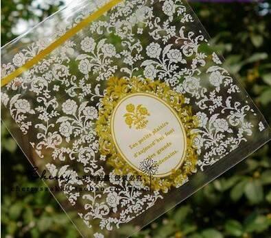 ถุงเบเกอรี่ ถุงขนมปัง แบบมีเทปกาว รูปดอกไม้ 100 ใบ/ห่อ (10*10+3 cm.)