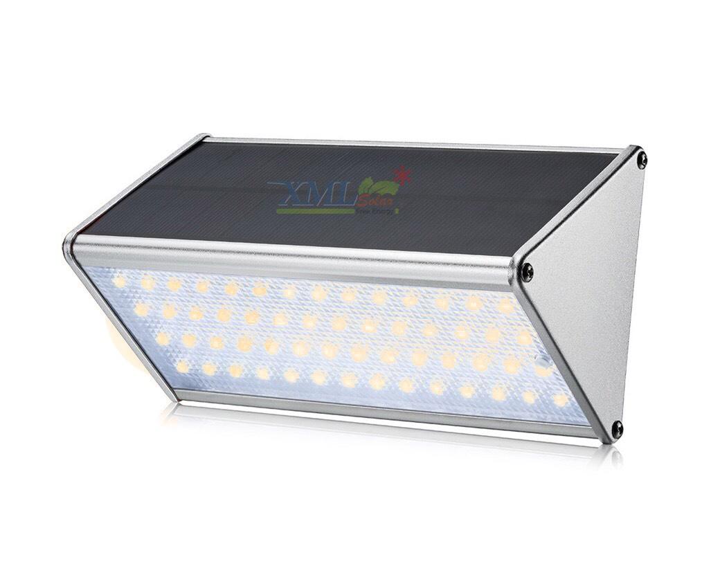 โคมไฟโซล่าเซลล์ ติดผนัง ทรงสามเหลี่ยม 56 SMD LED (เเสง : เหลืองวอมไวท์)