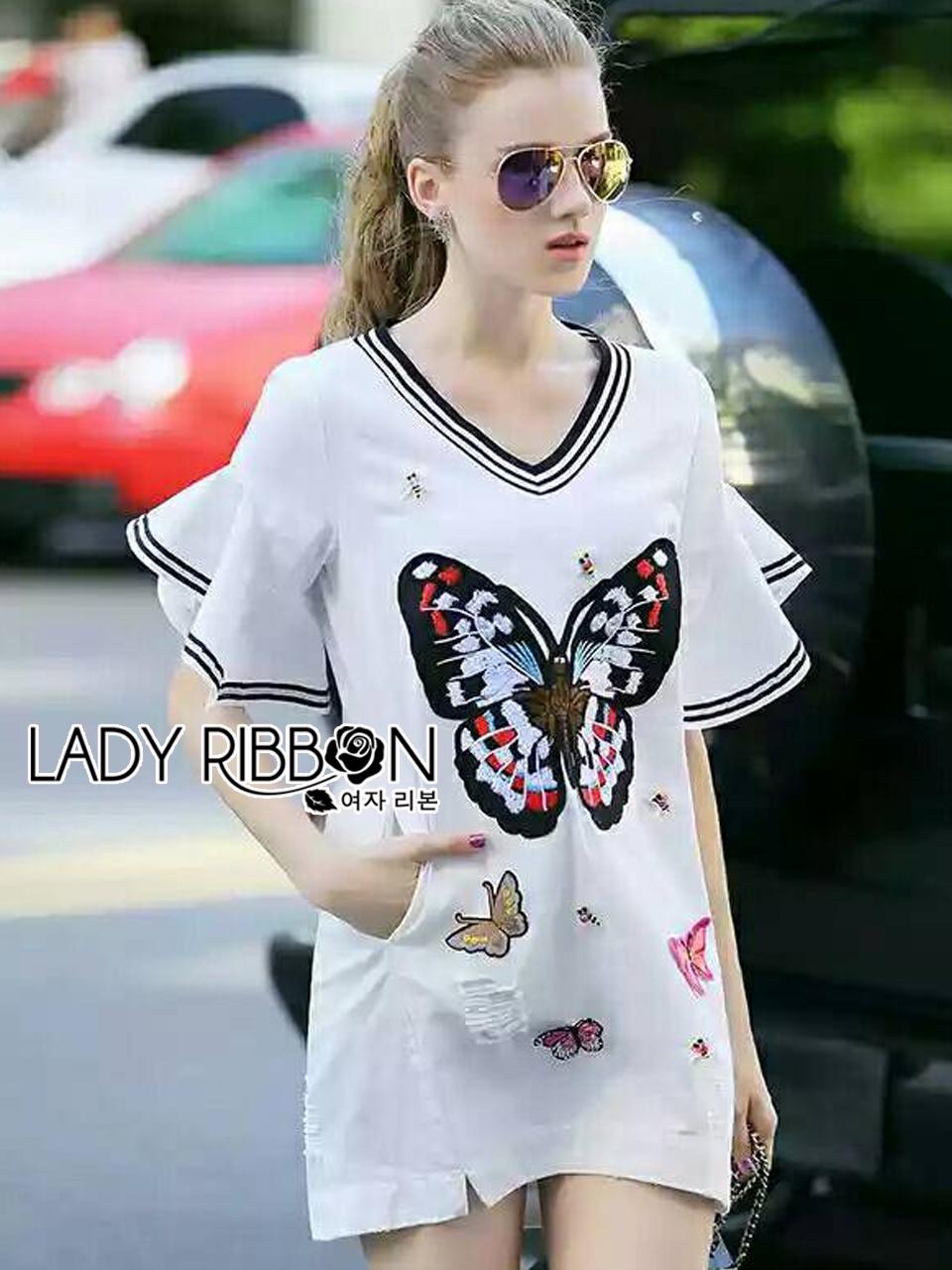 ชุดเดรสเกาหลี พร้อมส่งเดรสผ้าเดนิมฟอกสีขาวปักลายผีเสื้อตรงกลาง