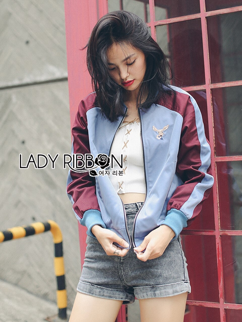 Yuna Street Chic Embroidered Two-Toned Bomber Jacket
