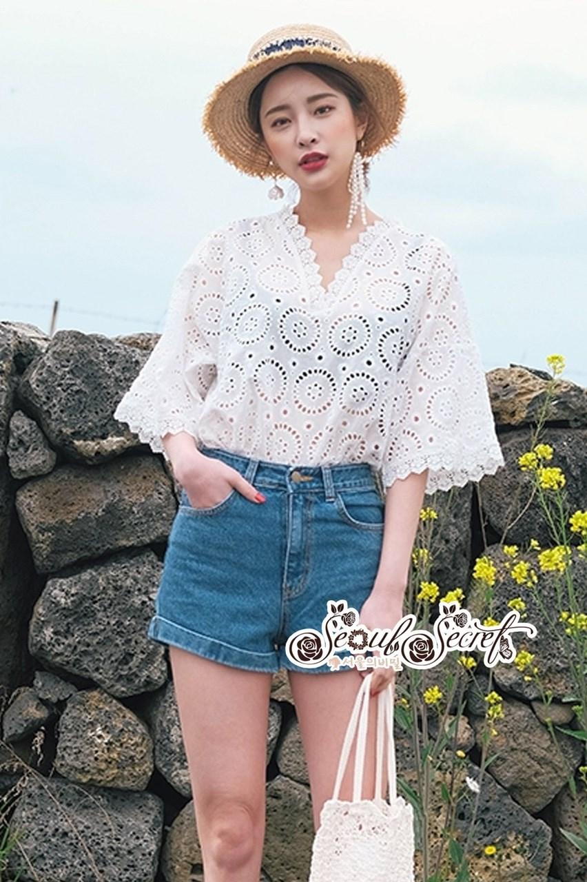 Lace Shirt White Circle Korea Style