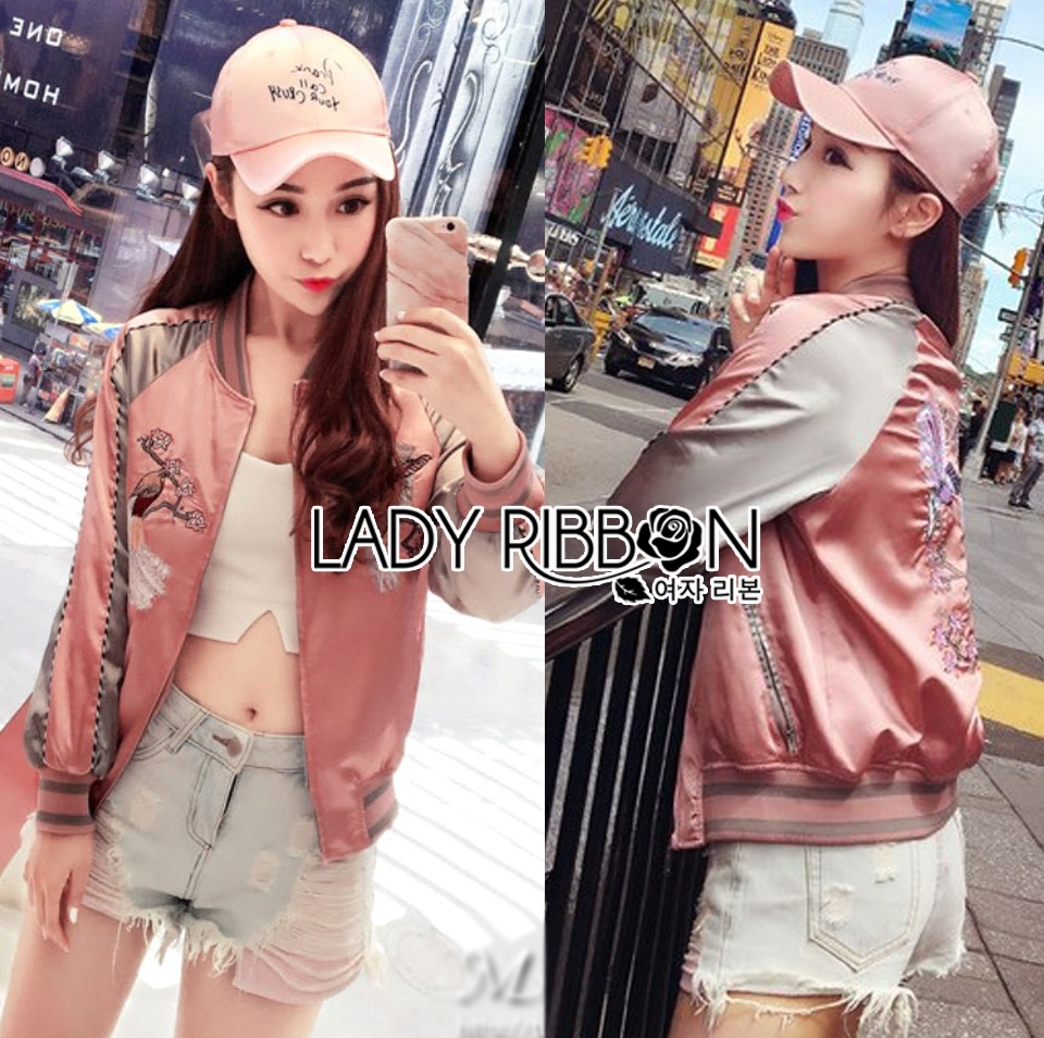 Cathy Sporty Feminine Embroidered Pink Bomber Jacket