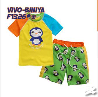VIVO-BINIYA ชุดว่ายน้ำเสื้อเพนกวิน+กางเกงขาสั้น +หมวก 100 110 120 130 140