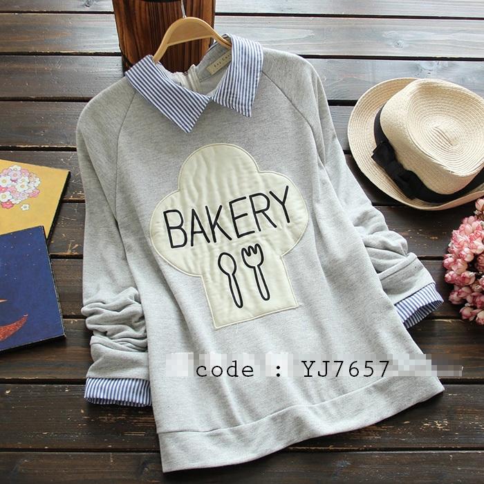 เสื้อแขนยาวคอปก-แต่งลาย-bakery-มี2สี-เทา-น้ำเงิน