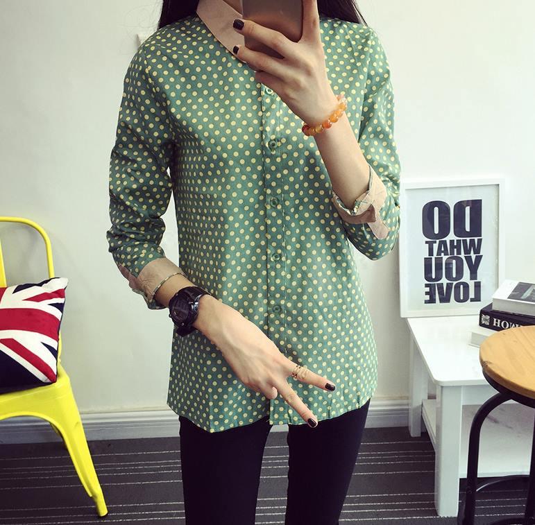 เสื้อเชิ้ตลายจุดปกน้ำตาล สีเขียว(Green)