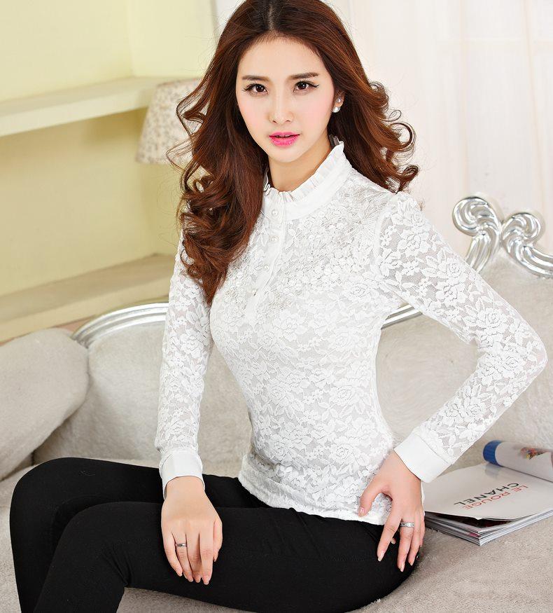 เสื้อเชิ้ตลูกไม้ทั้งตัว คอจีนแต่งระบาย สีขาว(White)