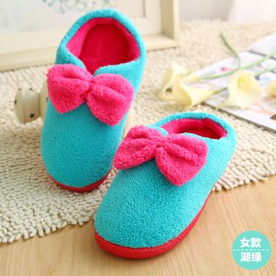 Pre-Order : รองเท้าใส่ในบ้านนุ่มนิ่ม พื้นยางกันลื่น แต่งโบว์ สีฟ้า