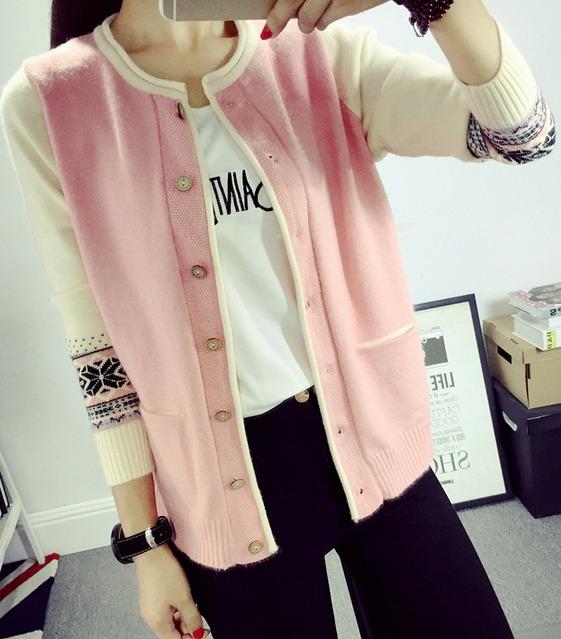 เสื้อคุลมคาดิกันทอลาย กระดุมไม้ สีชมพู(Pink)