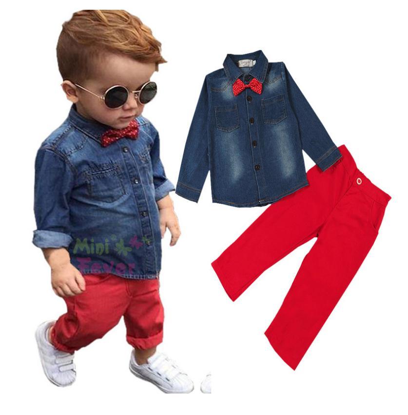 เสื้อยีนส์+กางเกงสีแดง
