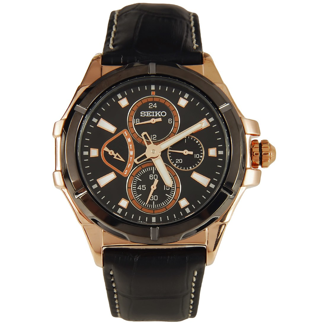 Seiko Lord Mens Rose Gold Plated Watch SRL038P1