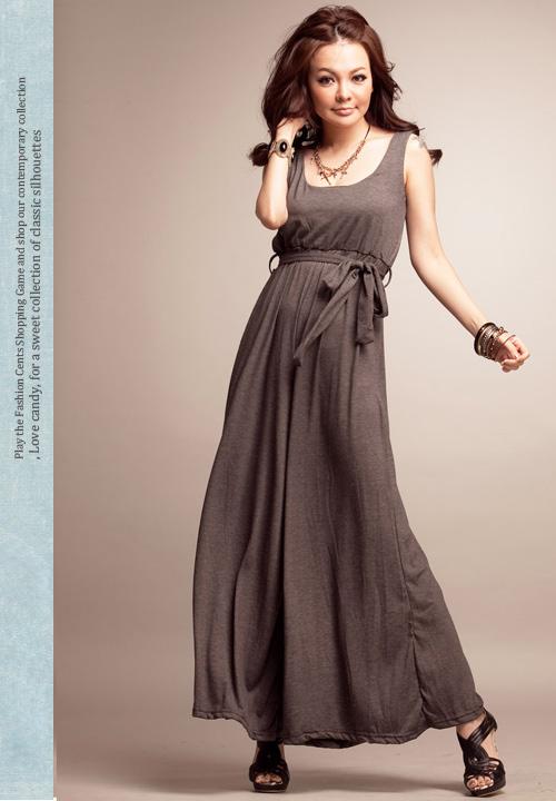 fashion jumpsuit เอี๊ยมกางเกงขายาว สีเทาเข้ม แขนกุด คอกลม ผ้าคอตตอน ใส่สบาย เท่ห์ๆ มาพร้อมกับเชือกผูกเอว จ้า