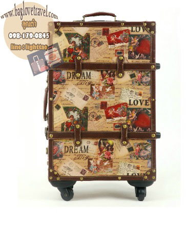 กระเป๋าเดินทางวินเทจ รุ่น vintage classic ลายซองจดหมาย ขนาด 24 นิ้ว
