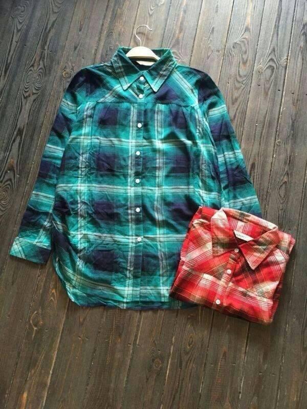 SM2 เสื้อเชิ้ตผ้าฝ้ายสไตล์ลำลองญี่ปุ่น ลายสก้อตสีสวยสด