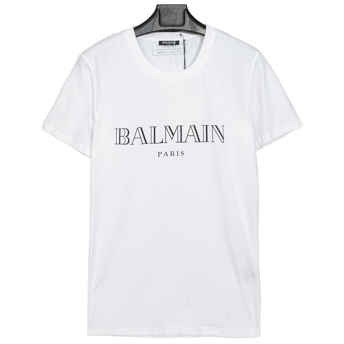 เสื้อ BALMAIN T-SHIRT LOGO เสื้อยืด สกรีน โลโก้ BALMAIN ตรงด้านหน้าของตัวเสื้อ สินค้ามีป้ายแท็ก และ ติดป้ายแบรนด์ BALMAIN PARIS แบบ ของแท้ 1