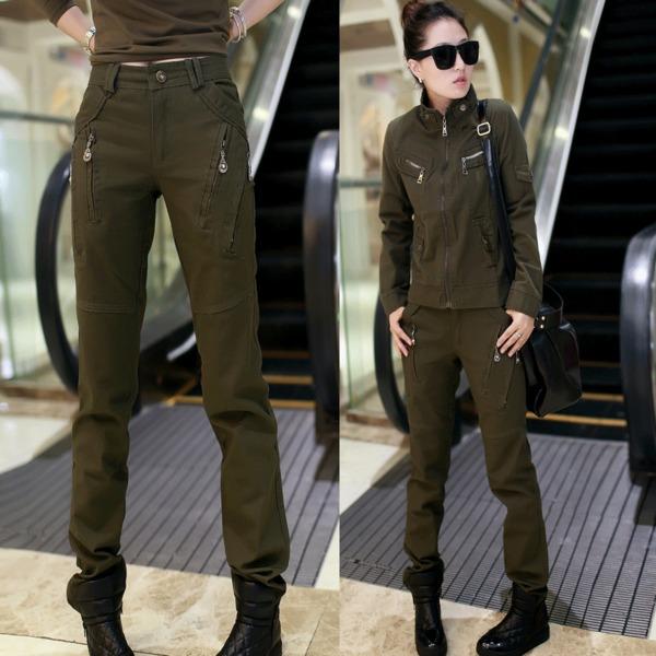 HW5906010 กางเกงทหารหญิงทรงหลวมสีเขียวกองทัพ (พรีออเดอร์) รอ 3 อาทิตย์หลังโอนเงิน