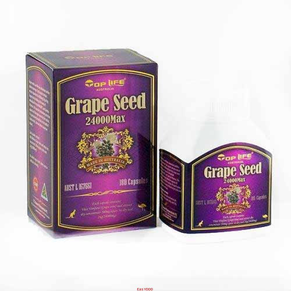 Top Life Grape Seed 24000 mg MAX (180 เม็ด) สารสกัดเมล็ดองุ่นเข้มข้น มีสารต่อต้านอนุมูลอิสระชั้นเยี่ยม ผิวขาว กระจ่างใส