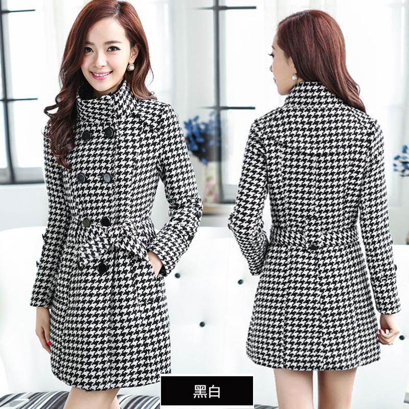 CW6010008 เสื้อโค้ทเสื้อคลุมกันหนาวเกาหลีผ้าผสมขนสัตว์สีดำและขาว(พรีออเดอร์)