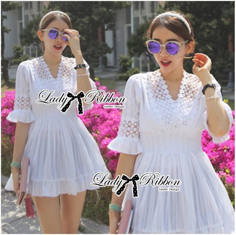 Lady Brie Feminine Flared Sleeve Embroidered with Frill Dress