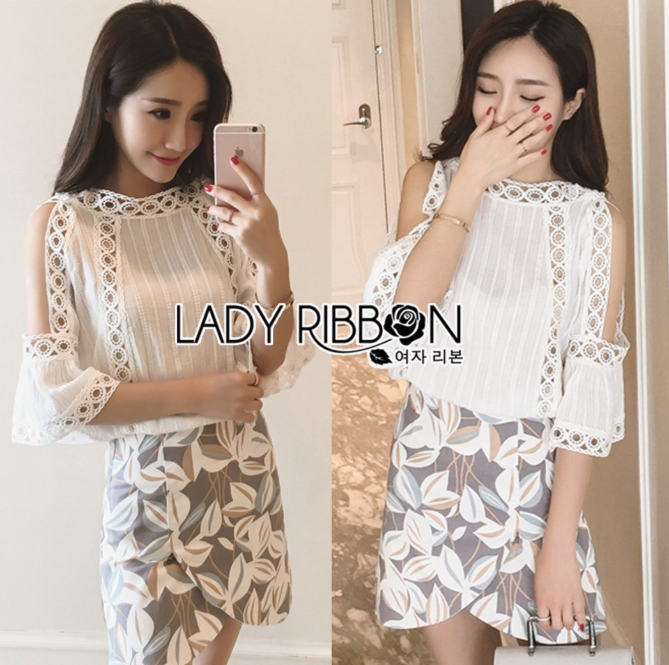 Lady Angie Cut-Out Embroidered Lace Cotton Top and Printed Skirt Set L268-791