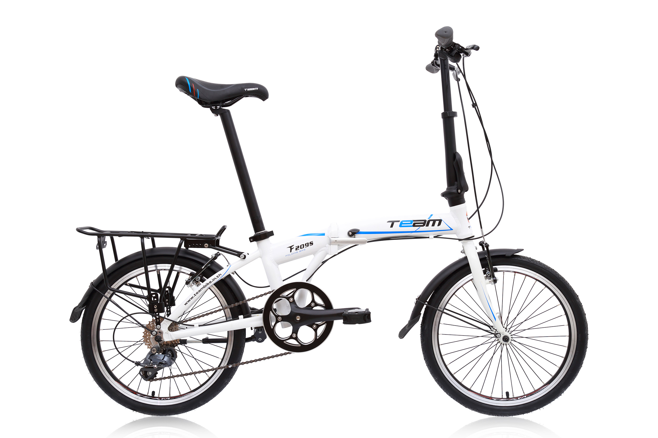 จักรยานพับเฟรมอลูมิเนียม สุดยอดด้วยดุม Novatec เกียร์ Claris 8 Speed ยี่ห้อ Team รุ่น F2095 สีขาว ตะเกียบโครโมลี