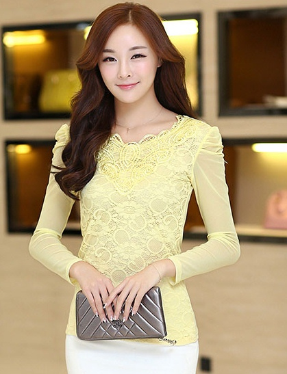 เสื้อทำงานสีเหลือง ผ้าลูกไม้ คอกลม แขนยาวเสื้อผ้าซีทรู น่ารัก