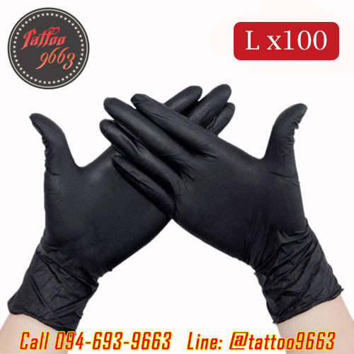 ถุงมือยางอย่างหนาสำหรับสักไซส์ L ถุงมือไนไตร100ชิ้น ถุงมือยางไนไตร Professional Nitrile Tattoo Artists Gloves (Size L - 100PCS)