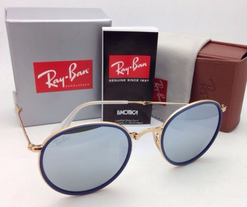 Ray-Ban Round Folding RB 3517 001/30 Blue Silver mirror