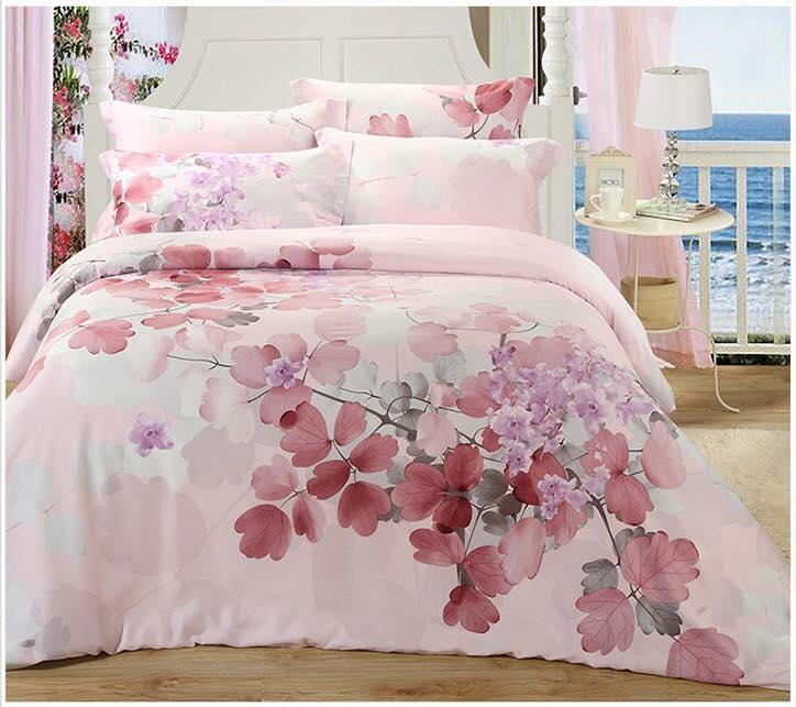 ผ้าปูที่นอน tencel ลายดอกไม้