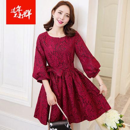[พรีออเดอร์] เสื้้อเดรสลูกไม้แฟชั่นเกาหลีใหม่ ใส่ไปงานได้ สำหรับผู้หญิงไซส์ใหญ่ - [Preorder] New Korean Fashion Lace Dress for Large Size Woman